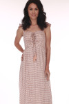 Front shows Mauve and white polka a dot patterned lace up tie maxi dress with short ruffled off shoulder sleeves.