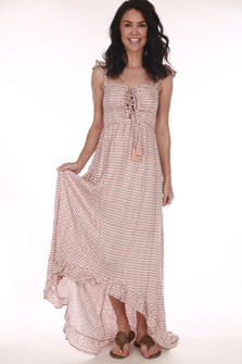 Front: Mauve and white polka a dot patterned lace up tie maxi dress with short ruffled off shoulder sleeves.