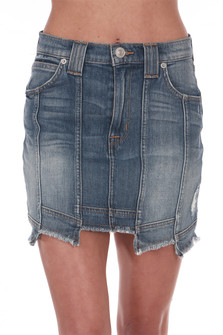 "Front shows denim skirt a ""step hem"" with different lengths, vertical seems all around and a super soft & stretchy denim material."