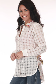 Hi-Lo Button Up L/S Blouse