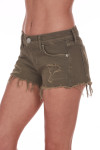 Side shows olive green distressed cut off shorts with pockets.