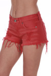 Side shows bright red distressed cut off shorts with pockets.