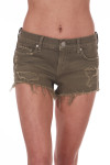 Front shows olive green distressed cut off shorts with pockets.