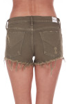 Back  shows olive green distressed cut off shorts with pockets.