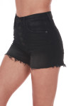Side shows black slightly distressed high rise button fly shorts with pockets.