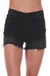 Front shows black slightly distressed high rise button fly shorts with pockets.