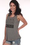 """Side shows grey sleeveless tank with""""Mama Needs Wine"""" written on front in black."""