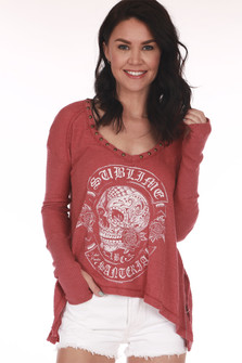 front shows sublime logo printed in white on red thermal with long sleeves and v neckline
