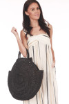 Front shows large round black shell design bag with short hand held straps.