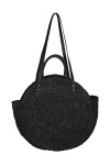 Back shows Large round black shell design bag with short hand held straps and medium length straps.
