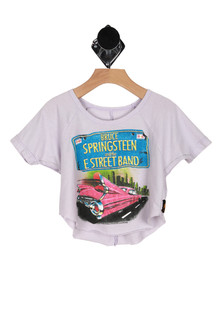 Front: Light grey cut off short sleeve Bruce Springsteen Band Tee with car and license plate design.