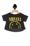 """Front shows dark grey short sleeve cut off tee with """"Nirvana"""" band name and happy face on front."""