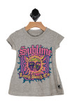 """Front shows grey tee with 'Sublime"""" band design with hot pink, blue and yellow sun."""