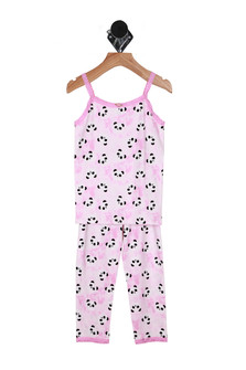 Front: Pink two piece matching pajama set with panda patterns all over.