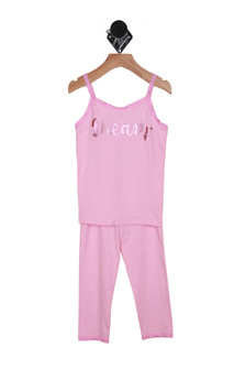 """Front: Pink spaghetti strap pajama top with the word """"dream"""" written on shirt with matching pajama pants."""