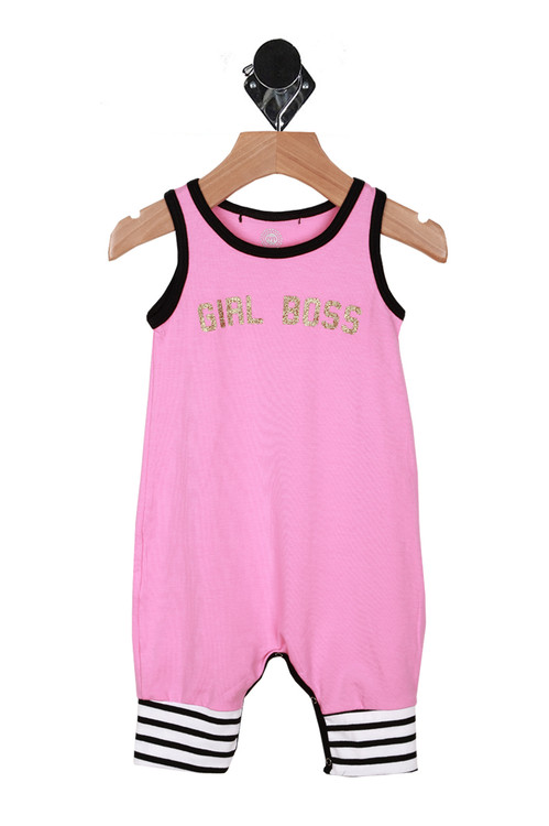 """Front shows pink one piece romper with """"girl boss""""written in glitter letters. Outlined with black and white stripes at the ankles."""