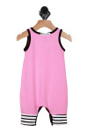 Back  shows  pink one piece romper outlined with black and white stripes at the ankles.