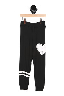 Front: Black sweats with two white stripes on bottom left leg and white heart on top left pant leg.