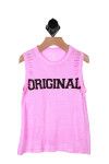 """Front shows pink tank with the word """"original"""" written in black."""