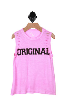 "Front"" Pink tank with the word ""original"" written in black."