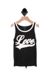"""Front shows black and white ringer tank with """"love"""" written in white ."""