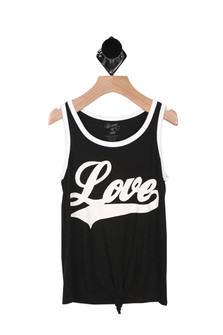 "Front shows black and white ringer tank with ""love"" written in white ."