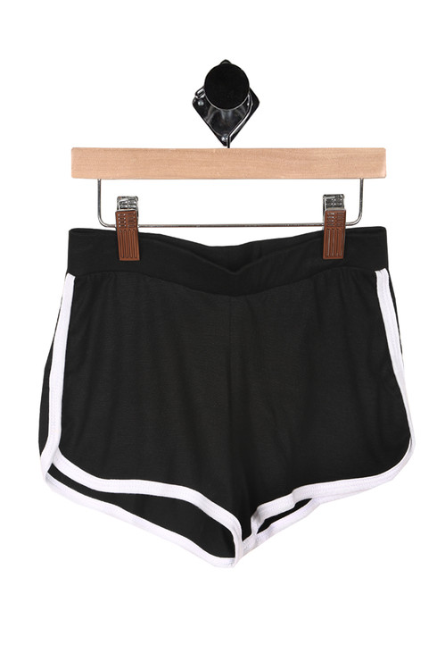 Front shows black with white side striped 70's inspired running shorts.