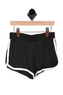 Front: Black with white side striped 70's inspired running shorts.