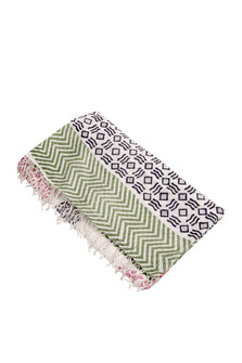 Chevron & Stripe Printed Tassel Towel
