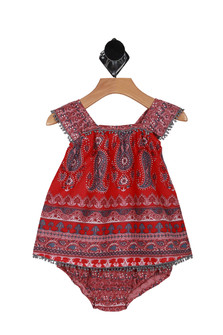 Front shows red multi print and colored Bohemian Paisley fringe top with matching bloomers.