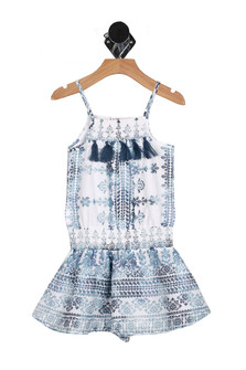 Front: Once piece romper with multi blue and crochet patterns. Fridge hanging from top.