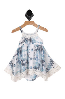 Front: White and blue multi print spaghetti strap top with matching bloomers.
