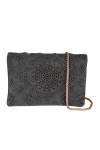 Front shows faded black crochet designed cross body clutch purse with gold braided strap.