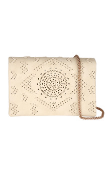 Front: Ivory crochet designed cross body clutch purse with gold braided strap.