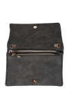Open view shows faded black clutch with inside snap and two zipper compartments inside. Comes with removable straps.