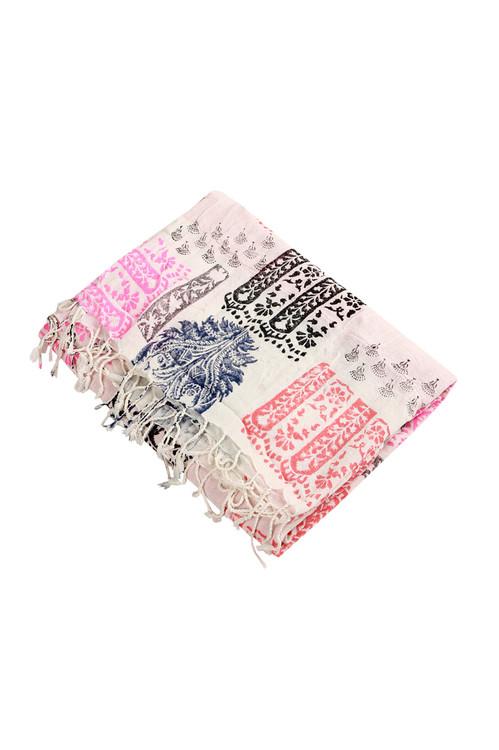 Top shows multi pattern stamped print fringe towel.