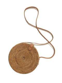 Round Rattan Crossbody Purse