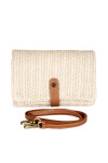 Front: Ivory color woven fold over cross body clutch bag with removable strap and leather snap.
