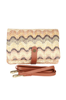 Front: Multi color and designed woven fold over cross body clutch bag with removable strap and leather snap.