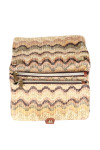 Side shows multi color and designed woven fold over cross body clutch bag shown with no straps and two zippers.