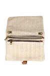 Side: Ivory color woven fold over cross body clutch bag shown with no straps and two zippers.