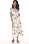Front shows ankle length ivory and floral waste wrap dress with V-shape top.Shown with sandals.