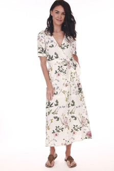 Front: Ivory and floral waste wrap dress with V-shape top.