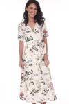Front shows ankle length ivory and floral waste wrap dress with V-shape top.