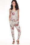 Front shows pink floral pattern and grey base color tank jumpsuit with v-neck and waste tie.
