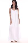 Front: White gauze maxi dress with slightly ruffled short sleeves.