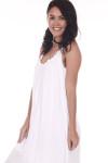 Side: White gauze maxi dress with slightly ruffled short sleeves.