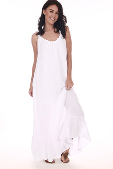 Front: White gauze maxi dress with slightly ruffled short sleeves.