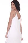 Back: White gauze maxi dress with slightly ruffled short sleeves and v-shape back.