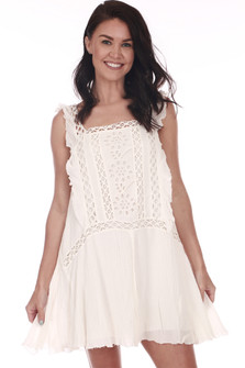 Front shows white crochet detailed mini dress with ruffled tank sleeves.